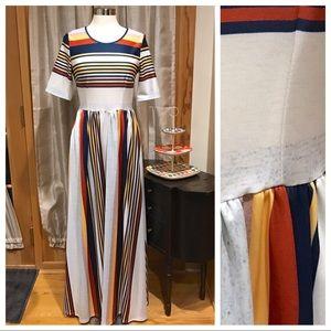 Striped Maxi Dress Sz M NWOT